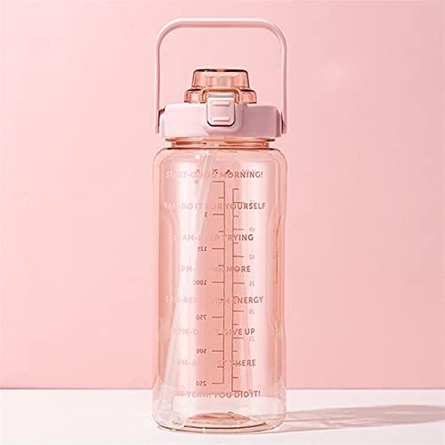 GHJGHJ Bottiglie d'Acqua da 2 Litri con Tazze di Copertura di Paglia Rimbalzo con Bottiglie di Scale a Tempo indeterminato per Sport all'aperto di Grandi Dimensioni (Capacity : 2.0L, Color : Pink 1)