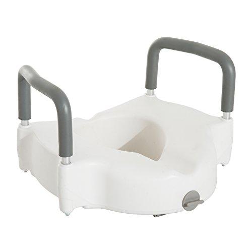HOMCOM Toilettensitzerhöher mit Armlehne, Erhöhter Toilettensitz, Toilettensitzerhöhung 12 cm, Alu+HDPE, Weiß, 44,5 x 52 x 36,2 cm