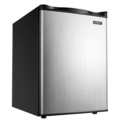 Euhomy Upright freezer, 2.1 Cubic Feet, Single Door Compact Mini Freezer with Reversible Stainless Steel Door, Removable Shelves, Small freezer for Home/Dorms/Apartment/Office (Silver)