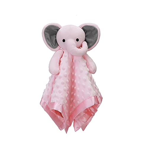 Pro Goleem Elephant Security Blanket with Stuffed Animal Snuggle Toy Lovey Soft Lovie Baby Girl Gift for Infant and Toddler Pink 16 Inch