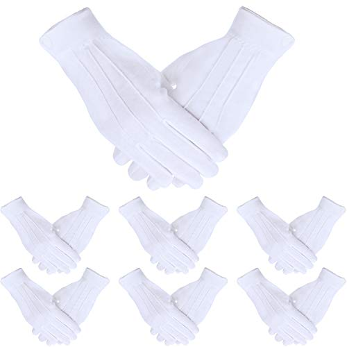 SATINIOR 10 Pairs White Cotton Marching Gloves Formal Tuxedo Guard Parade Gloves