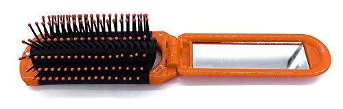 onweerstaanbaar1 Compact Opvouwbare Kleine Haarborstel met een Spiegel Rechthoek in Oranje