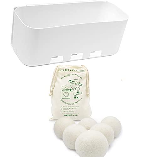 MGKolbe Cesta adhesiva deslizante + de regalo, 6 bolas para secadora, se fija sin agujeros en la pared de la secadora o de la lavadora, resistente al agua y a las vibraciones