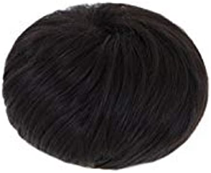 One Piece Of Seamless Bun Hair Extension Women's Synthetic Hair Black Straight Fluffy Wig Accessory