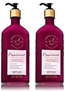 Bath and Body Works 2 Pack Aromatherapy Essential Oil Body Lotion 6.5 Oz. Peppermint