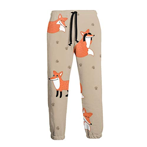 TYUO Mens Baggy Sweatpants Funny Fox Pattern Paw Print Graphic Trousers Jogger Pants Black