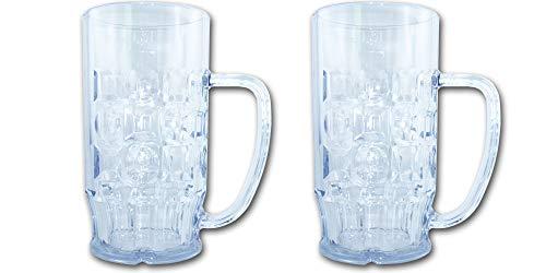 Unbekannt Bierkrug 0,5l SAN Kunststoffglas 2 Stück - Hochwertige Mehrweg Bierkrüge im Sparset