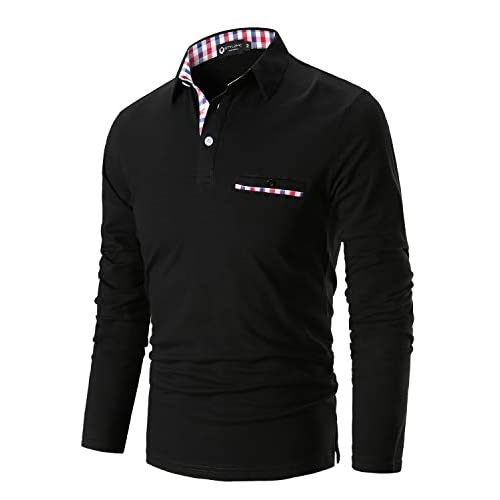 STTLZMC Mens Casual Long Sleeve Polos with Fashion Plaid Splice T-Shirt