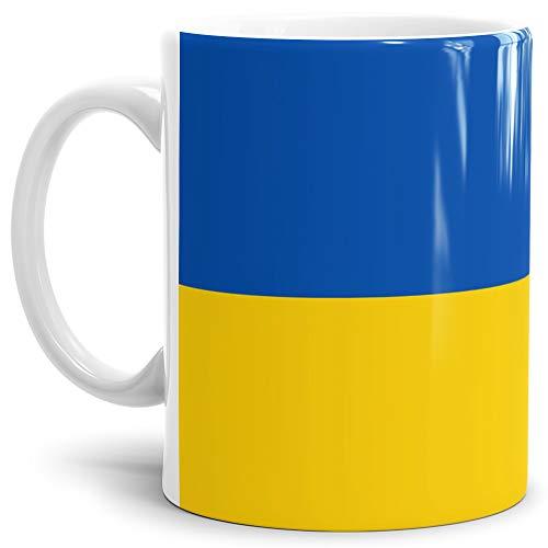 Tassendruck Flaggen-Tasse Ukraine - Kaffeetasse/Mug/Cup - Qualität Made in Germany