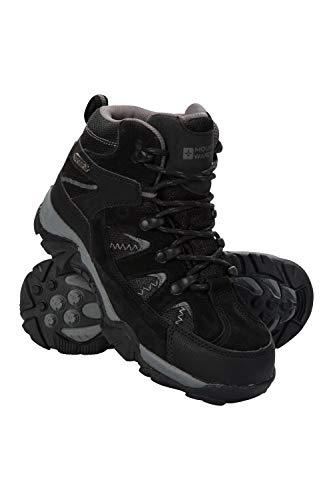 Mountain Warehouse Trail Kids Botas Impermeables - Zapatos Infantiles con Malla sintética en la Parte Superior, Plantilla EVA, Alta tracción - para Senderismo y Caminar Negro 37