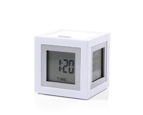 Lexon Clock Cubissimo 4 Faces LCD - EL Light Wecker, ABS, Gummi, weiß, 5.1x5.1x5.1 cm
