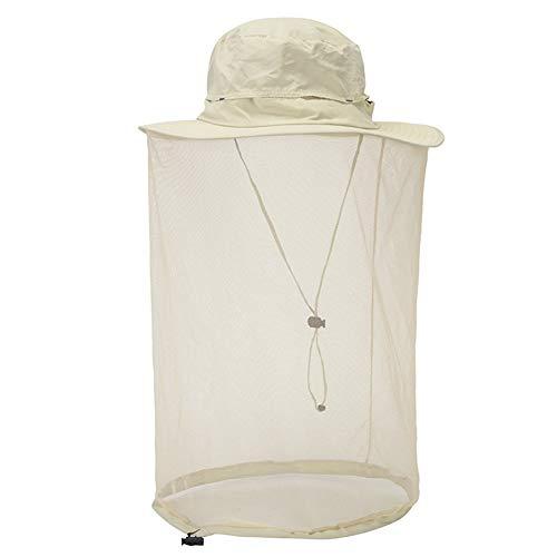 Tapa Antimosquitos Ajustable para Exteriores, Resistente Al Agua, Sombrilla, Protección UV, Adecuada para Pesca, Montañismo, Viajes (Beige,60cm)