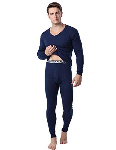 Bestgift heren katoen lange mouwen elastisch thermo-ondergoed set
