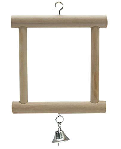 Plus Nao(プラスナオ) 鳥用おもちゃ 鏡 ミラー 吊り下げ 遊ぶ ベル 鈴 オウム 鸚鵡 インコ 小鳥 オモチャ 鏡玩具 トーイ 木製 長方形 ペッ - -