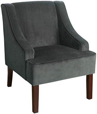 Best HomePop Velvet Swoop Arm Accent Chair, Dark Gray