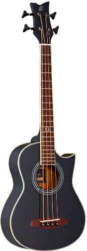 Ortega Guitars D-Walker-BK Akustikbass elektrifiziert schwarz mit Kurzmensur mit hochwertigem Gigbag Walker und Nylongurt