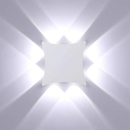 ENCOFT 8W Lámpara de Pared para Exterior Interior COB LED Moderno, Aplique de Pared en Aluminio IP65 Impermeable, Luz de Pared Blanco Frio 6000K para Jardín Pasillo Loft, Blanco