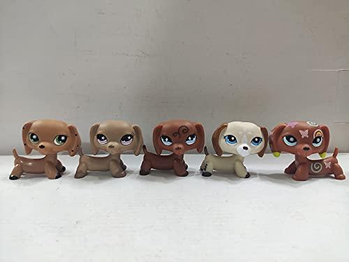 Littlest Pet Shop Dog Brown Dachshund Dogs Puppy LPS Toys Animal Figure 5 pcs/Set
