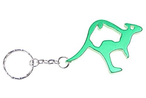 Känguru, Australien, Sidney Schlüsselanhänger in grün metallic für Tierliebhaber, Exotenfreunde, Urlauber, Beuteltierfans, Biologen und viele mehr! Zugleich praktischer Flaschenöffner!