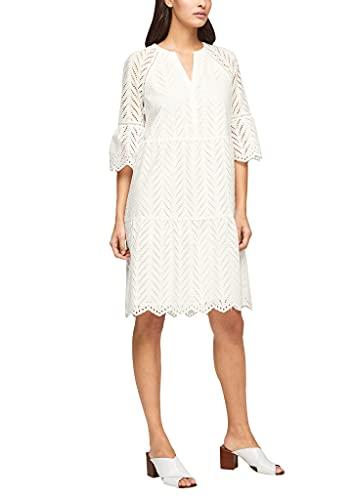 s.Oliver BLACK LABEL Damen Tunikakleid mit Lochstickerei white 40