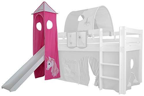 XXL Discount Turm-Vorhang 100% Baumwolle für Hochbett Spielbett Stockbett Kinderbett Kinderzimmer Spielturm mit Turmgestell (Rosa/Pink, Einhorn)