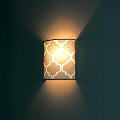 Wandleuchte Grau Beleuchtung Ø25,5cm 60er Jahre Muster Retro Lampe Flur