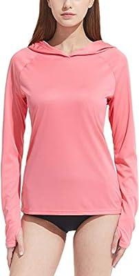 TSLA Women's UPF 50+ Long Sleeve Swim Shirt, UV/Sun Protection Rash Guard, Regular-Fit Quick Dry Water Shirts, Hoodie Swim Shirt Coral Pink, X-Small