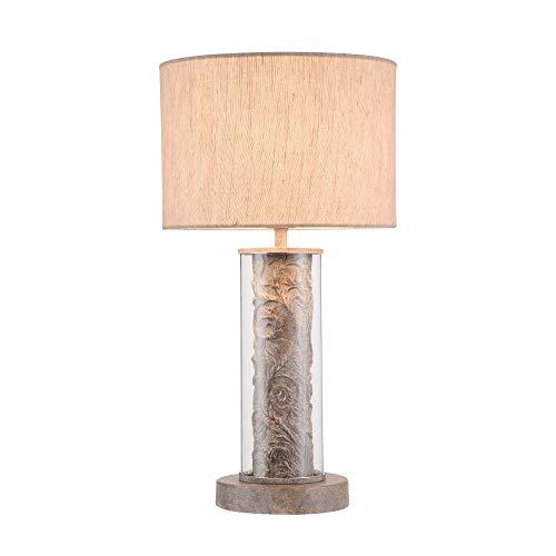 Lampe à poser, Lampe de table, Lampe de chevet, style moderne, Art deco, Armature en Métal couleur gris, Abat-jour en tissu gris, ampoule non incluse 40 W E14 220-240V
