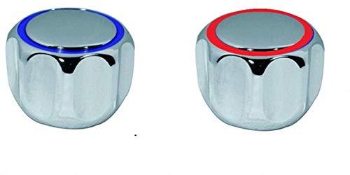 TLDSHOP® - Verchromter Drehknopf für Wasserhähne - Ersatzgriff mit Platte - Einsatz 20-24 - 2 Stück (Paar) - Farbe: Rot / Blau