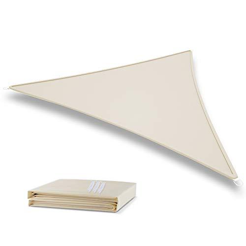 Deepee 3x3×3m Toldo Vela de Sombra Triángulo, Hecho de Poliéster de alta calidadprotección 95% UV y Transpirable Impermeable, para Jardín, Patio, Exteriores, Pergola Decking, De color crema