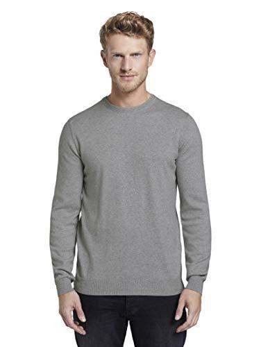 TOM TAILOR Herren Weicher Kaschmir-Mix Pullover, Grau (Smooth Grey Melange 18965), (Herstellergröße: XX-Large)