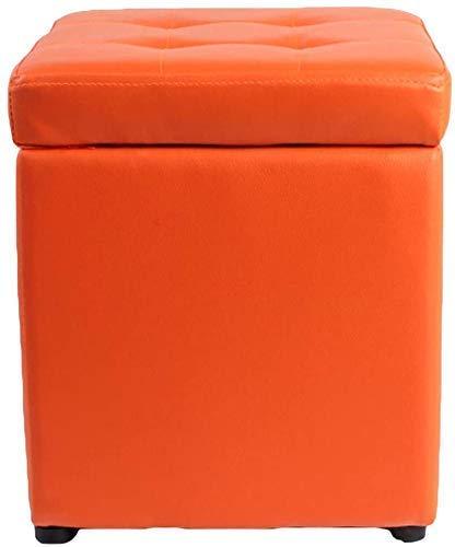 Otomano Taburete Foot Stool Cube Faux Cuero Ottomanos Almacenamiento Asiento de banco de almacenamiento, Bandeja de caja de juguete con bisagra Top Organizador Caja de almacenamiento en el pecho