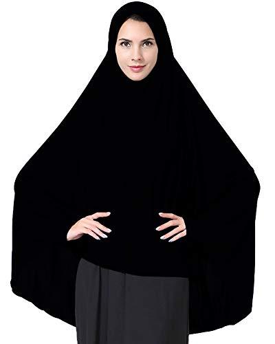 Ababalaya Women's Elegant Modest Muslim Islamic Ramadan Soft Lightweight Jersey Hijab Long Scarf,Black,M