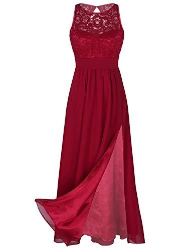 iEFiEL Damen Kleid Festliche Kleider Brautjungfer Hochzeit Cocktailkleid Chiffon Faltenrock Elegant Langes Abendkleid Partykleid Z Weinrot 36-38