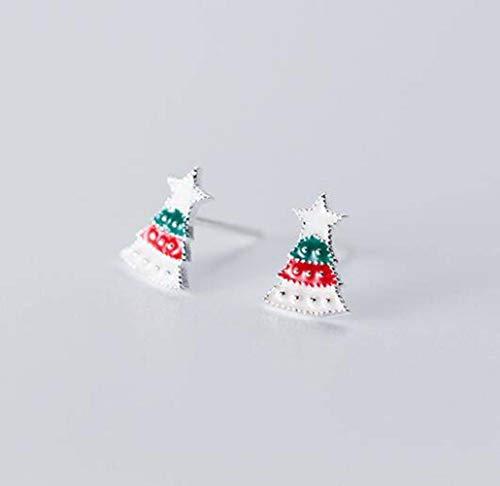 Neuheitschmucksachen Einfache Ohrringe S925 Silberne Ohrringe Süßes Süßigkeit Weihnachtskarikaturohr-Schmuckgeschenk, Yao Xiang, Weihnachtsbaum Geld, 925er Silber