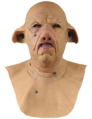 Mscara de Halloween de Horror de Cerdo Mscara de Cabeza de Cerdo Cosplay Animal Props Diablo Series Pig Latex Mask-Pig Face_One Size