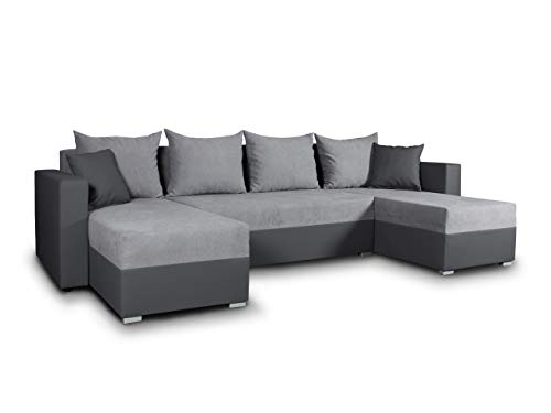 Wohnlandschaft mit Schlaffunktion Beno - U-Form Couch, Ecksofa mit Bettkasten, Couchgranitur mit Bettfunktion, Polsterecke, Big Sofa, Polstergarnitur (Dunkelgrau + Grau (Cayenne 1118 + Enjoy 21))