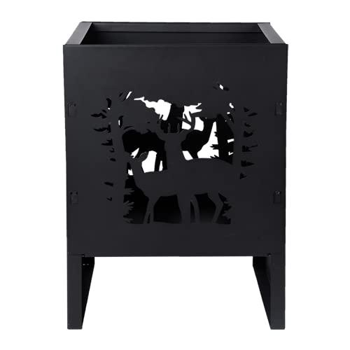 Fancy Flames Brasero cuadrado, diseño de ciervo, 30,3 x 30,2 x 40,1 cm, color negro