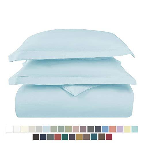 Pizuna 400 Thread Count Cotton Double Bed Duvet Cover Set Light Blue, 100% Long Staple Cotton Bed Set Double Bed, Soft Sateen Quilt Cover Double Set (100% Cotton Baby Blue Duvet Cover Double)