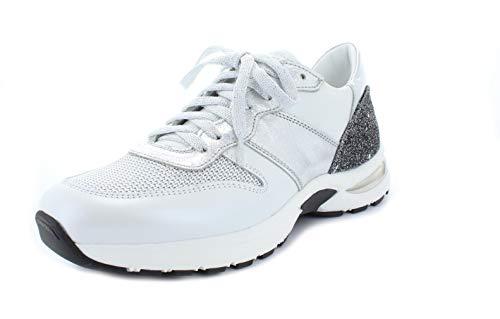 Noclaim Damen Sneaker Runner Beise 2 Wechselfussbett Leder schwarz-weiß-Silber