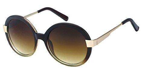 Chic-Net Lunettes de Soleil Dames Autour d'épaisseur teinté millésime 400UV Glamour Bande métallique Deux Tons dorés Sun Glasses