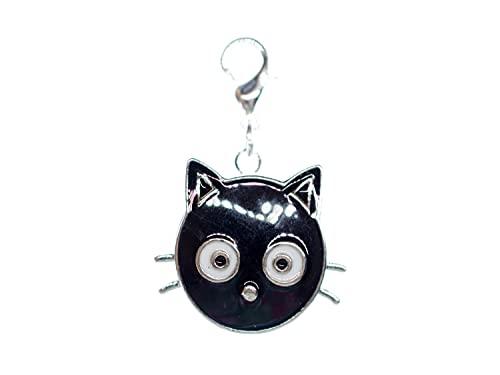 Miniblings Katze Charm Katzenkopf Katzen Click Button - Handmade Modeschmuck I Kettenanhänger versilbert - Bettelanhänger Bettelarmband - Anhänger für Armband