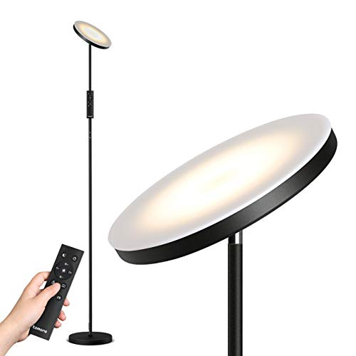 Tomons Stehlampe LED Dimmbar, Stehleuchte Stufenlos Dimmbar, 30W LED Deckenfluter mit Fernbedienung, Stufenlose Farbtemperaturen Industrial Modern Stehlampen Schwarz für Wohnzimmer, Büro, Schlafzimmer