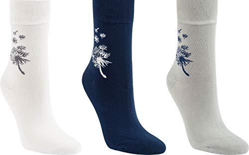 """socksPur DAMEN und TEENAGER LUXUS STRUMPF """"VISKOSE BAMBUS"""", BAUMWOLLE SCHÖNE MOTIVE 3 PAAR (35/38, 11970: PUSTEBLUME- Baumwolle hellgrau-mittel grau-blau)"""
