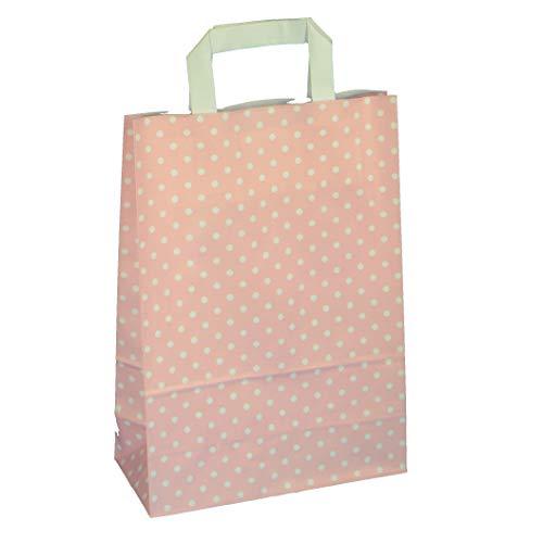 Papiertragetaschen Geschenktüten Papiertüten Tragetaschen Shopper Papier Polka Dots Punkte rosé rosa pink 22 + 10 x 31 cm
