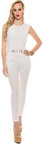 Eleganter KouCla Overall mit Goldschnalle in versch. Farben & Größen - Jumpsuit Rückenfrei (K6721) creme Gr. S