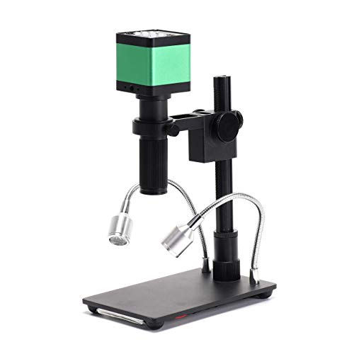 HAYEAR 48MP 2K High Definition HDMI Digital Microscope Camera + 150X C-Mount Lens + Adjust Lamp Portable Table Stand for Phone PCB Board Repair Soldering Lab Inspect