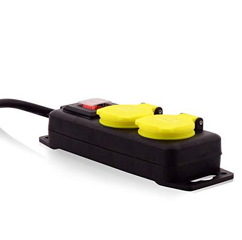 Steckdosenleiste für den Garten Stromverteiler Outdoor 2-Steckdosen Gartensteckdose Mehrfachsteckdose mit Ein-Schalter IP44 für Gartenbeleuchtung Teichpumpen TÜV geprüft Verlängerungskabel