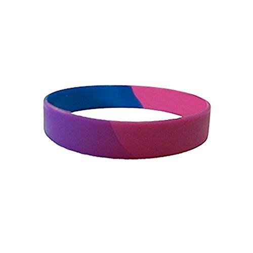 Bisexual Pride Silicone Bracelet Wristlet - LGBT Pride Wristband w/Bi Pride Flag Colors