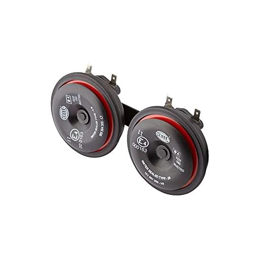 HELLA 3AM 922 000-971 Horn - S90 - 12V - 113dB(A) - Frequenzbereich: 350/415Hz - Gehäusefarbe: rot/schwarz - Flachsteckanschluss - Set